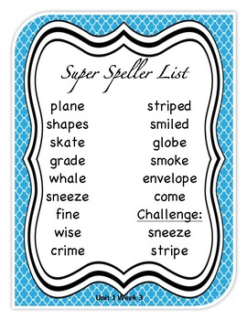 Unit 1 Week 3 Wonder's Beyond Level Spelling List and Word Search