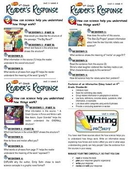 Unit 1 Week 4-Reader's Response (4th Grade McGraw-Hill Wonders)