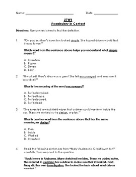 Unit 1 Week 4 Reading Wonders 3rd Grade Vocabulary in Context (Test)