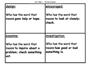 Unit 1 Week 4 Who Has Vocabulary Game