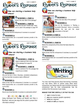 Unit 1 Week 5-Reader's Response (4th Grade McGraw-Hill Wonders)