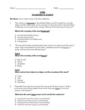 Unit 1 Week 5 Reading Wonders 3rd Grade Vocabulary in Context (Test)