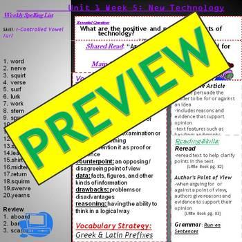 Unit 1 Week 5 Skills Guide 5 Grade McGraw Hill Wonders FUT