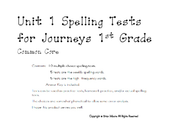 Unit 1 Weekly Spelling Tests for Journeys Grade 1