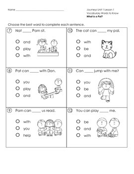 Journeys First Grade Weekly Assessment Unit 1 (RLA tests ...