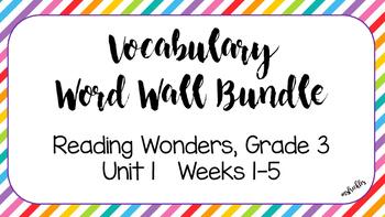 Unit 1, Weeks 1-5 Reading Wonders Vocabulary