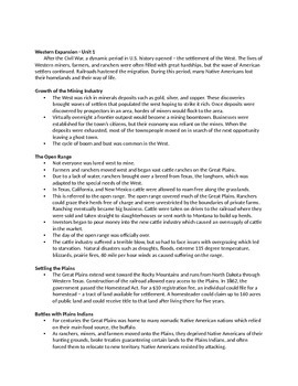 Westward Expansion Notes - Unit 1