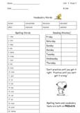Unit 1 Wonders 3rd Grade Spelling Take Home (A,B,O Lists)