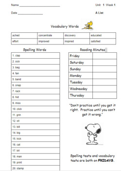 Unit 1 Wonders 3rd Grade Spelling Take Home (A,B,O Lists)