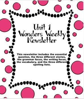 Unit 1 Wonders Weekly Newsletter