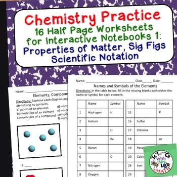 Chemistry Worksheets 1 for Interactive... by Science With Mrs Lau ...
