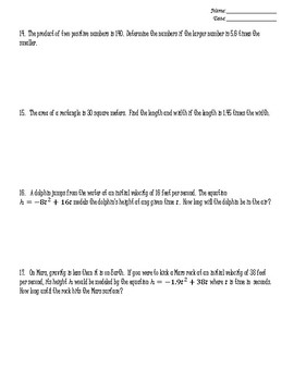 Unit 1 Worksheets (ALG 2) - All Things Quadratic and Other Polynomials
