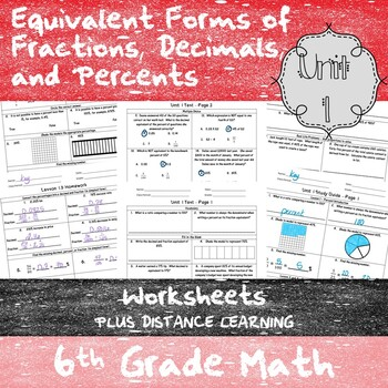 Equivalency Percents Worksheets 6th Grade Math Teks 6 4e G