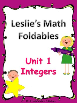 Unit 1 and 2 Integers and Fractions Foldables for Interactive Notebooks