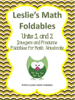 Unit 1 and 2 Integers and Fractions Foldables for Interact