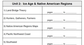 Unit 1 and 2 Table of Contents for Interactive Social Studies Notebooks