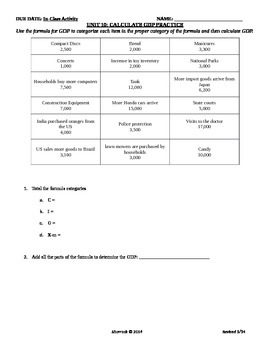 Unit 10: Calculate GDP Practice and Answers