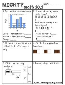 Unit 10 Challenge Math Boxes for Everyday Math, 1st grade
