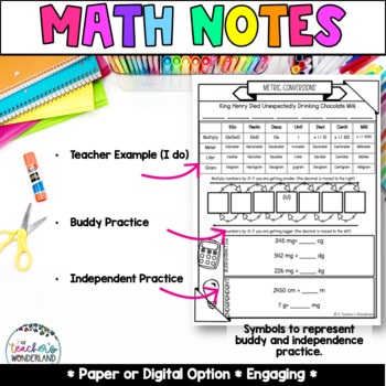 Unit 10- Guided Math Notes Converting Customary & Metric Measurements