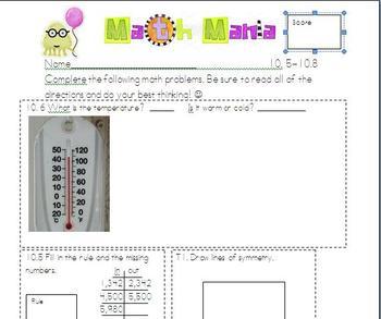 Unit 10 Everyday Math 2nd Grade starred skills Common Core Standards
