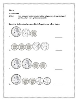 2nd Grade - Unit 10 Everyday Math - Quizzes
