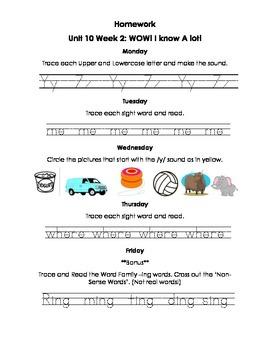 Unit 10 Kindergarten Treasures Reading Series Homework