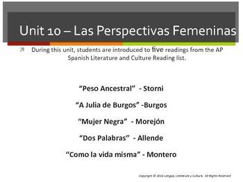 Unit 10 - Las Perspectivas Femeninas - AP Spanish Literature and Culture
