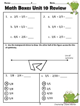 Unit 10 Math Boxes Review ~ 4th Grade Everyday Math