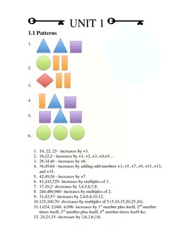 Unit 1.0 Patterns and Number Sense ANSWER KEY