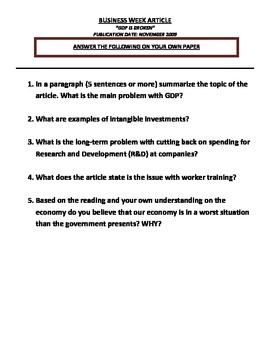 Unit 10: Problems with GDP Article Reading Exercise