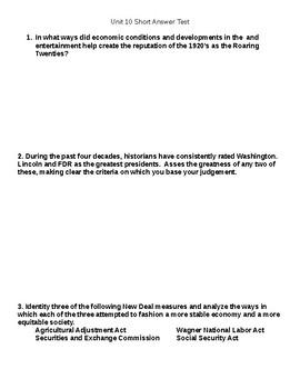 Unit 10 Short answer Questions