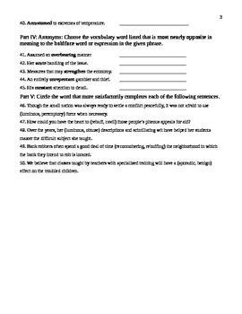 Unit 10 Vocabulary Test based on Orange Sadlier Workbook Level G