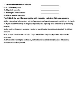 Unit 10 Vocabulary Test based on Sadlier Workbook Level D