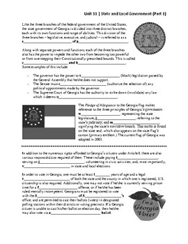 Unit 11.1 - State and Local Government (SS8CG1)