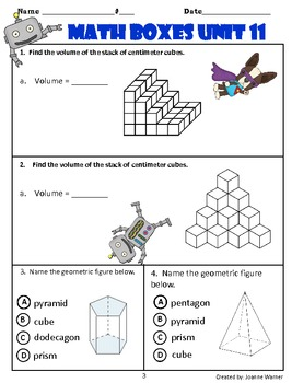 Unit 11 Everyday Math: 3-D Shapes, Weight, Volume Math Review