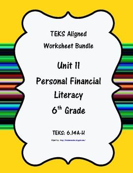 Unit 11 - Personal Financial Literacy - Worksheets - 6th Grade Math TEKS