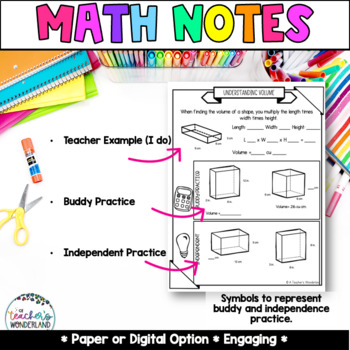 Unit 11- Geometry and Volume Guided Math Notes for Math Notebook - Grade 5