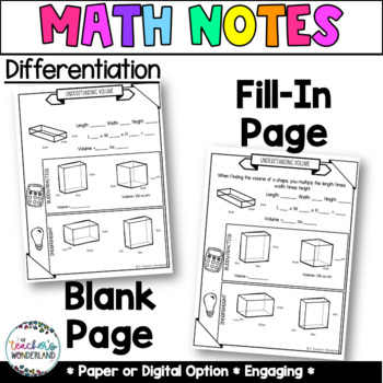 Grade 5- Unit 11- Geometry and Volume Guided Math Notes for Math Notebook