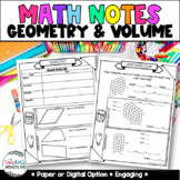 Grade 5- Unit 11- Geometry and Volume Guided Math Notes fo