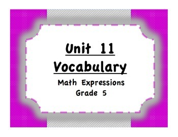 Unit 11 Multiplication and Ratios Vocabulary (Math Express