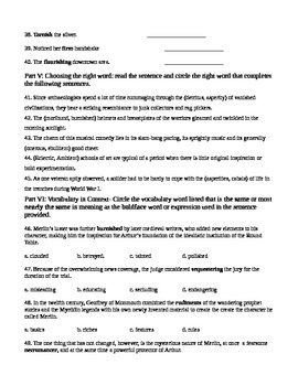 Unit 11 Vocabulary Test based on Orange Sadlier Workbook Level G