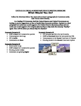 Unit 12-13: Fiscal and Monetary Policy Writing Exercise
