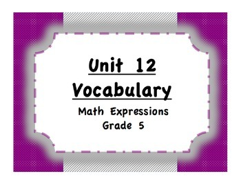 Unit 12 3-D Shapes Vocabulary (Math Expressions, Grade 5)