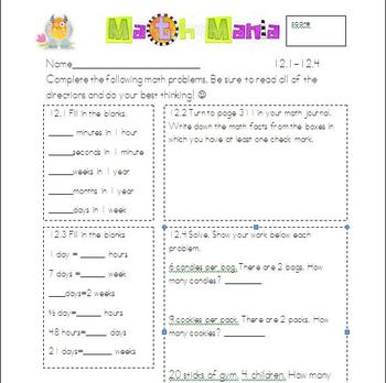 Unit 12 Everyday Math 2nd Grade Starred Skills Common Core Standards