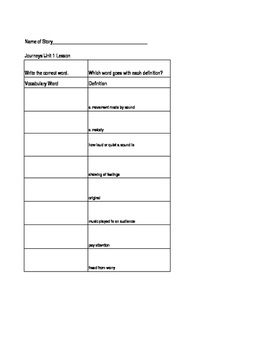 Unit 12 Journeys Spelling & Vocabulary Worksheets