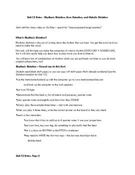 Unit 12 Notes - Rhythmic Dictation, Error Detection, Melodic Dictation