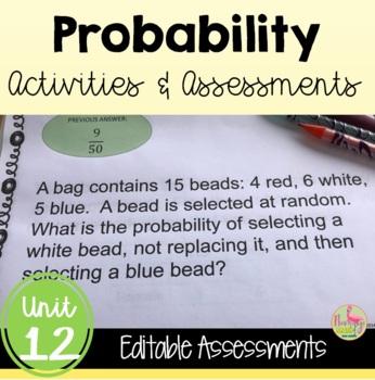 Probability Review-Quiz-Test Bundle