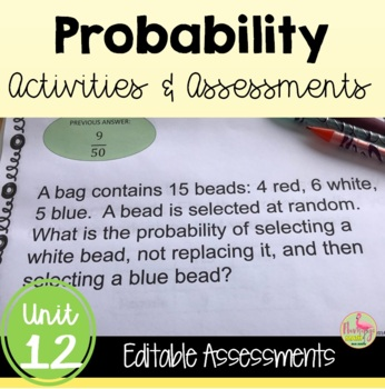 Algebra 2: Probability Review-Quiz-Test Bundle