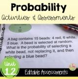 Algebra 2 Probability Review-Quiz-Test Bundle