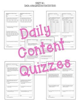 Data Analysis & Statistics Review-Quiz-Test Bundle